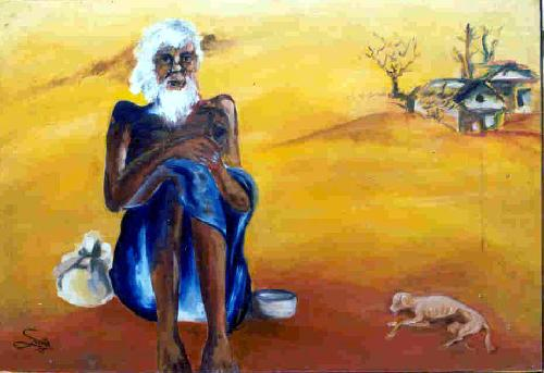Bread and Beggar. Painting by SAVITA SINGH BHADOURIA.